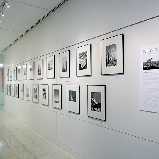 "Installation of ""Inflected Modernism: Architecture Through the Lens of Balthazar Korab,"" an exhibition at the Dallas Center for Architecture, Sept 25 - Dec 03, 2015."