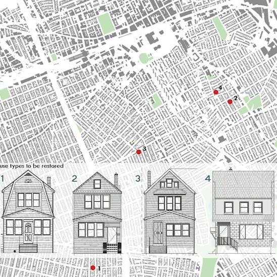 Restored Homes; Jamaica, Queens, NY (Heim Architect received the commission to restore four abandoned wood frame houses in Jamaica with the not-for-profit Restoring Urban Neighborhoods (RUN), an affiliate of Neighborhood Restore Housing Development Fund Corporation.)