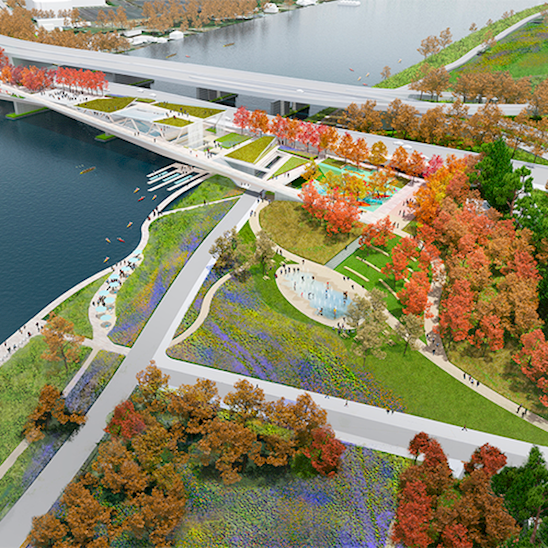 OMA+OLIN's winning design for the 11th Street Bridge Park Competition connects two historically disparate sides of the Anacostia River with a series of rooms and active zones, including two sloped ramps that elevate visitors to maximized look-out points to landmarks in either direction. (Image: Olin; Project: Skip Graffam for OLIN, with OMA)