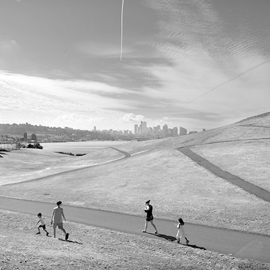 The Landscape Architecture of Richard Haag: From Modern Space to Urban Ecological Design,  by Thaïsa Way (University of Washington Press, 2015); Image - Richard Haag Associates, landscape architect, Gas Works Park, 1976, Seattle, WA. Copyright: Tighe Photography, 2014.