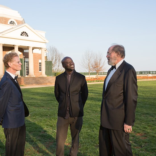 Medalists: Cary Fowler, Jr. (Citizen Leadership), Sir David Adjaye (Architecture), and Frank H. Easterbrook (Law) at Monticello; copyright: Thomas Jefferson Foundation at Monticello; photo: Jack Looney