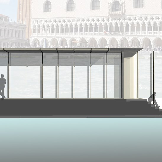 Floating Exhibition, Venice (rendering and design: collaborative project by Nate Nelson and Jordan Richardson)