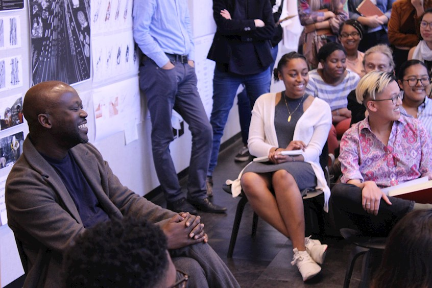 Sir David Adjaye talks with faculty and students in Campbell Hall