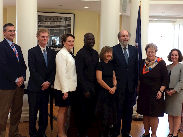 Founder's Day Lunch and Medals Presentation; From Left to Right: Dean Stam; Medalist in Citizen Leadership Cary Fowler; Monticello Executive Vice President Ann Taylor; Medalist in Architecture Sir David Adjaye; Dean Berman; Medalist in Law Frank Easterbrook; UVA President Teresa Sullivan; Dean Goluboff