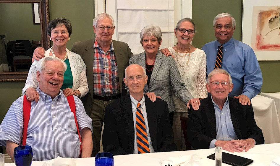 "Members of the Class of 1958 celebrated their 60th Reunion at Hamilton's on the Downtown Mall on June 9th with Wright B. ""Chips"" Houghland '58,  Graham ""Bud"" Evans '58, M. Jay Brodie '58 Standing:  Sarah Houghland, Terry Way '58, Jackie Crebbs, Mary Costas, and Carlos Costas '58."