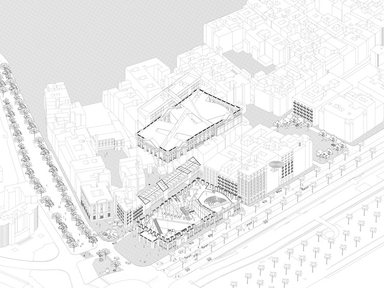 Axonometric / Folded Barcelona: The New Catalan Parliament (Haoruo Zhu + Fang Nan)
